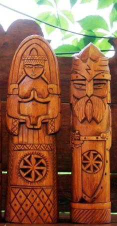 Lada and Perun Viking Symbols, Viking Art, Viking Woman, Female Viking, Wood Carving Art, Tree Carving, Wood Art, Vikings, Viking Designs