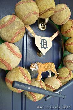 DIY Wreath from Old Baseballs