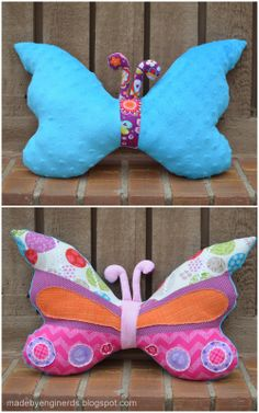 Reversible butterfly pillow/softie, made to match a butterfl Reversible butterfly pillow/softie, made to match a butterfly quilt! Reversible butterfly pillow/softie, made to match a butterfly quilt! Butterfly Pillow, Butterfly Baby, Fabric Crafts, Sewing Crafts, Paper Crafts, Diy Pillows, Cushions, Butterfly Template, Monster Dolls