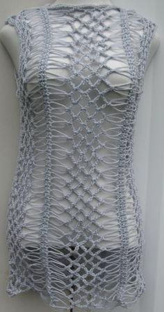 Silver crochet dress/tunic top by Elegantcrochets Hairpin Lace Crochet, Crochet Tunic, Crochet Yarn, Crochet Clothes, Crochet Stitches, Knit Crochet, Cross Stitches, Crochet Motif, Crochet Designs