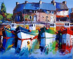 Bright Paintings, Seascape Paintings, Landscape Paintings, Eric Le Pape, Boat Drawing, Boat Art, Boat Painting, Palette Knife Painting, Art Drawings