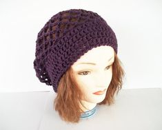 Crochet Pattern Lace and Flower Slouch Hat With Crochet Chart  7fbace9717c