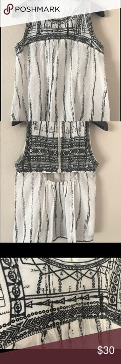 Stitch Fix see U soon beaded/sequined top Adorable black and white Stitch Fix top. Peek a boo back with detailed silver beading, black sequins and delicate scalloped hem.  Zip up back.  Never worn, tried on only. Stitch Fix see U Soon Tops Blouses