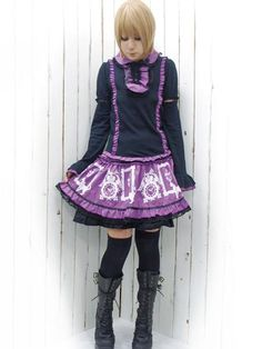 Cutsew Blouse w/ Removable Sleeves Black x Purple. #punkfashion #Gothic #Deorart See more at: http://www.cdjapan.co.jp/apparel/deorart.html