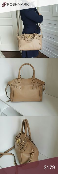 """Michael Kors Tan Hudson crossbody satchel purse Retail $398 + tax Authentic Michael Kors Tan Pebbled Leather Hudson Satchel crossbody tote bag purse handbag  5.5"""" Drop Double Handles with 23"""" Drop Removable Shoulder Strap Measures : 13"""" (L) x 11"""" (H) x 6"""" (D) Zip top closure. Belted top with logo medallion at center. Michael Kors signature lining with one zippocket & slip pocket pet and smoke free  #8bes Michael Kors  Bags Satchels"""
