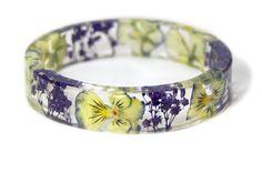 Real Flower Bracelet Flower Jewelry Purple by ModernFlowerChild