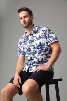 The Aloha shirt is cut in a breathable cotton in our modern fit and features an all over resort inspired print. The style is finished with a chest front pocket, branded buttons and woven shirt tag. Wear yours with a pair of chino or cargo shorts for a fresh summer look.