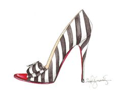 If youre like me, youre a little obsessed with Christian Louboutin heels. This black and white striped beauty is one of my faves from their