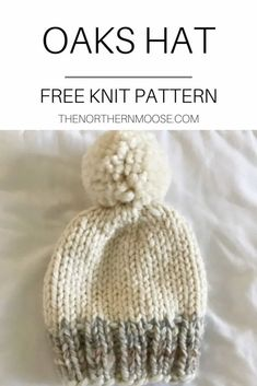 Free hat knitting pattern. Gender neutral baby hat knitting pattern. Easy beginner friendly. Baby Knitting Patterns, Baby Hat Patterns, Baby Clothes Patterns, Baby Hats Knitting, Free Knitting, Beginner Knitting, Sewing Patterns, Knitted Hats Kids, Kids Hats