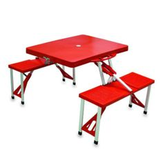 Red Folding Picnic Table