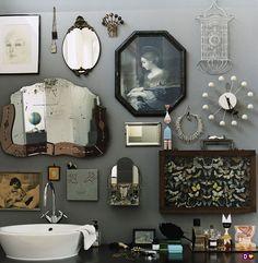 bath room Leather Living Room Furniture, Bathroom Wall Decor, Walls, Bath Room, Vintage, Mirror, Frame, Ideas, Creative
