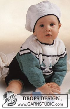 "DROPS jumper with boat motif, shorts and Basque hat in ""Safran"". Size 3-24 mos."