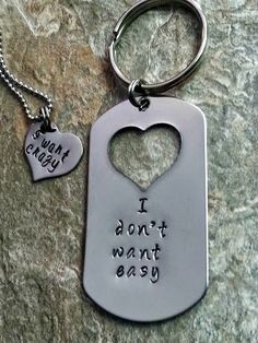 I don't want easy...I want crazy Dog Tag Couples Set. Adorable for anniversary, wedding, Valentines, Christmas or just for fun!