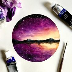 Music Painting Canvases Beautiful Ideas For 2019 Circle Painting, Music Painting, Painting & Drawing, Watercolor Paintings, Space Watercolor, Watercolor Art Diy, Watercolor Sunset, Watercolors, Diy Artwork