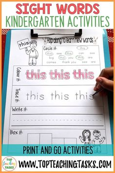 "This resource includes the 52 Kindergarten (Primer) Dolch Sight Words in engaging printables to help your students gain sight word fluency! Use this as part of your Word Work Daily 5 activities, or as an addition to your writing program. A great bonus – NO PREP! Just PRINT and GO! Many sight words can not be ""sounded out"" and must be learned by sight. Sight word recognition improves reading fluency, allowing the student to focus their efforts on reading comprehension. #sightwords"