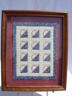 Vintage Framed Handmade Miniature Basket Quilt by MyVintageHabit
