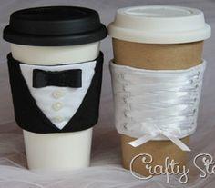Bride and Groom Coffee Sleeves | AllFreeSewing.com