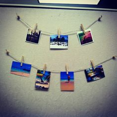 cubicle decor could paint the clothes pins and use fun metallic string