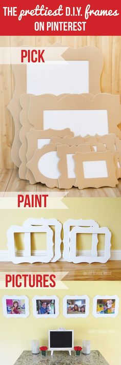 The Prettiest DIY Frames on Pinterest!  Blog post from smartschoolhouse with a contest and a link to Cut It Out picture frames.  I might need to buy some of these!