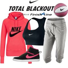 """""""Nike Total Blackout"""" by xxgriseldaxx ❤ liked on Polyvore"""