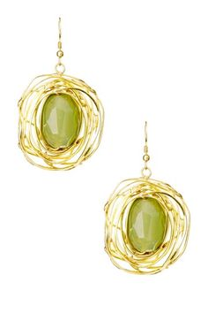 Wire Nest Earrings with Green Gem.