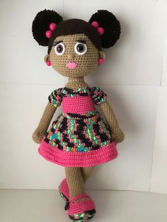 Crochet Doll with Two Afro Puffs by MyKindaThing on Etsy