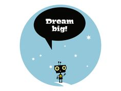 """@Behance: """"Paper growth chart """"Dream Big"""" with a robot on the moon"""" by Pia Kolle"""