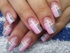 french nails wedding Tips Acrylic Nail Designs, Nail Art Designs, Acrylic Nails, Coffin Nails, Nail Design Glitter, Glitter Nails, Purple Glitter, Fancy Nails, Diy Nails