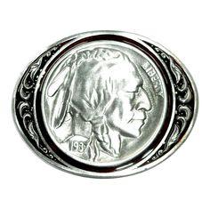 Large Five Cent Liberty Buffalo Nickel Coin Bergamot Pewter Belt Buckle