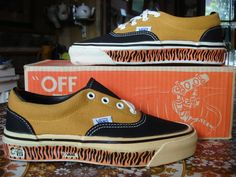 theothersideofthepillow — vintage VANS 2-tone black gold TIGER STRIPES scene BE style #95 era MADE IN USA US4.5 bmx