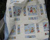 Blue and White Crib Quilt, Nursery Bedding, Summer Baby Quilt