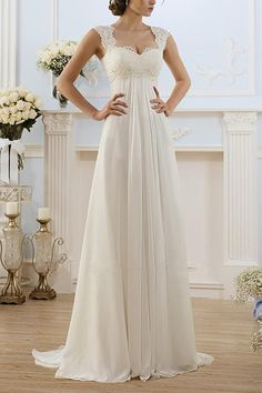 Elegant Chiffon Wedding Dress With French Lace Cap Sleeves - Hochzeit Plus Size Bridesmaid, Maxi Bridesmaid Dresses, Plus Size Wedding, Prom Dresses, Formal Dresses, Summer Dresses, Casual Dresses, Chiffon Dresses, Graduation Dresses