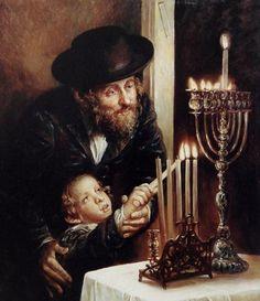 Elena Flerova -Channukah Lighting- Jewish Art Oil Painting