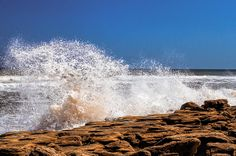 Waves breaking on the Coquina Rock at Washington Oaks Florida State Park, between Palm Coast and St Augustine. There are only a few places on the Florida East Coast that Coquina Rock is found.