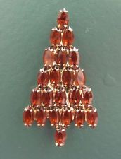 VTG ANTHONY ATTRUIA signed CHRISTMAS XMAS TREE PIN Amber Prong-Set Rhinestones