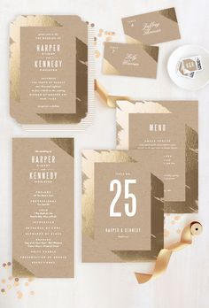 The golden ticket. Coordinate your decor with your wedding invitation to create the ultimate gold inspired wedding reception. Gilded wedding invitation by Minted artist Carrie O'Neal.