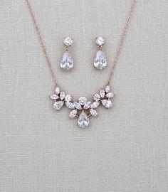 Hochzeitssuite Kulisse Collier Rose Gold zurück von treasures570