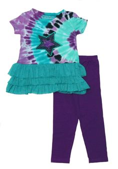 Girls Tie Dye Flapdoodle Pant Set (2T). Individually tie dyed by hand. Each piece is unique and special.