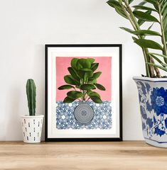 SOLD vase and palm still life collage original artwork blue and