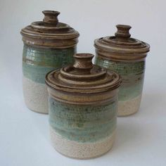 Kitchen Set of 3 Canisters - Greens and Browns - Ceramic Lidded Jars - Home and Living. $114.00, via Etsy.
