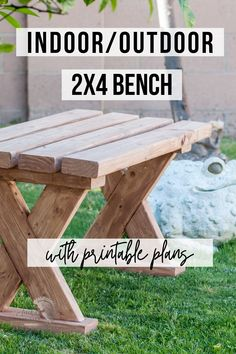 This DIY 2×4 bench is super easy and quick to make and is easy on the budget! It uses 2×4 lumber and can be used as an outdoor bench or indoor bench. Learn how to build this easy 2×4 bench with step by step plans and video tutorial. #beginnerwoodworking #2x4bench #AnikasDIYLife Woodworking Furniture Plans, Woodworking Projects That Sell, Beginner Woodworking Projects, Woodworking Ideas, Kreg Jig Projects, Scrap Wood Projects, Diy Furniture Projects, Wood Projects For Beginners, Wood Working For Beginners