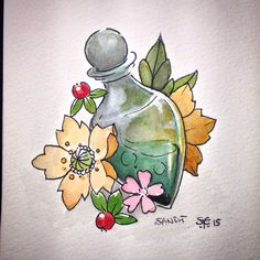 Only for witches Potion Tattoo idea Watercolor