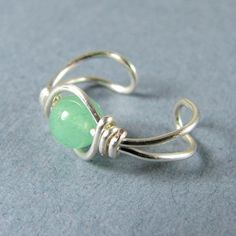 Sterling Silver Ear Cuff Green Aventurine by WireYourWorld on Etsy