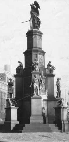 Sculptor Randolph Rogers designed the four-tiered monument. The armed female figure at the top represents Michigan shielding and defending the rights of her citizens and nation. Below her are four figures representing Victory, Union, Emancipation and History. At the lower stage are seven-foot bronze statues of an infantryman, a cavalryman, an artilleryman and a sailor. (Detroit News Archives)