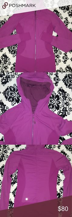 Lululemon reversible influx jacket Lululemon size 6 Influx jacket size 6! Excellent condition beautiful regal plum color. Thumb holes and REVERSIBLE. Will only trade for a size 8. Nothing else otherwise just selling. lululemon athletica Jackets & Coats