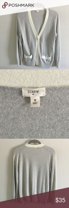 J. Crew Merino Wool Cardigan Finely knit merino/cashmere blend v-neck button front cardigan. Heather gray with cream trim. Excellent used condition. No snags, pills or holes. J. Crew Sweaters Cardigans