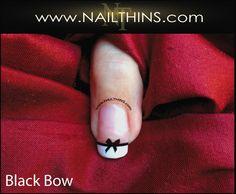 BLACK BOW Nail Decals  Bow Tie Nail Design  nail art by NAILTHINS, $3.75