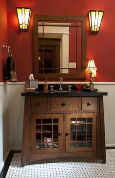 Powder Room Mission Style Design, Pictures, Remodel, Decor and Ideas. Don't like the red walls! Craftsman Style Bathrooms, Craftsman Style Homes, Bungalow Bathroom, Mission Style Homes, Mission Style Decorating, Garage Bathroom, Craftsman Bungalows, Downstairs Bathroom, Master Bathroom
