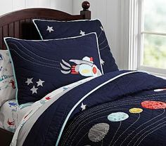 Eric Space Quilted Bedding #pbkids - my daughter would love this!