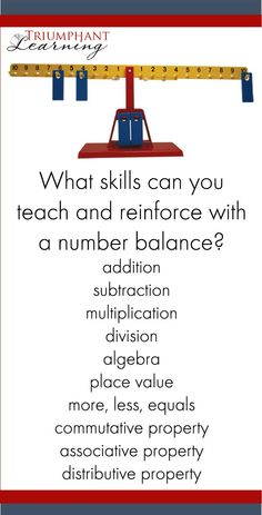 Learn how to use a number balance or math balance to practice math facts and encourage mathematical thinking for your student. Includes VIDEOS demonstrating how to use the number balance. addition   subtraction   multiplication   division   algebra   place value   commutative property   associative property   distributive property